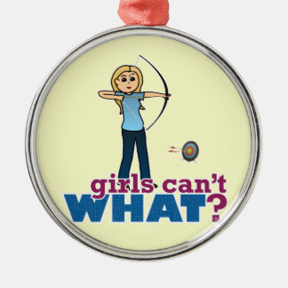 Archery Girl in Blue - Blonde Christmas Ornament
