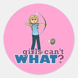 Archery Girl in Blue - Blonde Classic Round Sticker