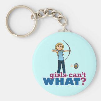 Archery Girl in Blue - Blonde Key Ring