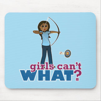 Archery Girl in Blue - Dark Mouse Pad