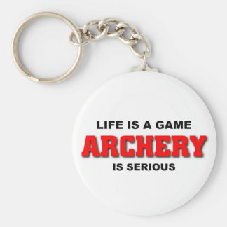 Archery is serious basic round button key ring