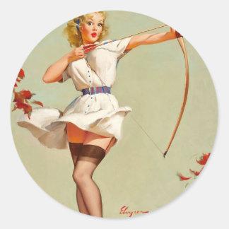 Archery Pin-Up Girl Classic Round Sticker
