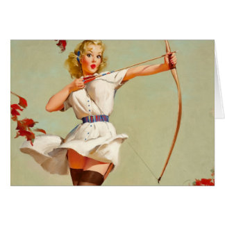Archery Pin-Up Girl Greeting Card