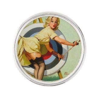 Archery Pin-Up Girl Lapel Pin