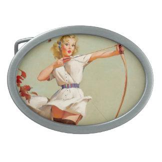Archery Pin-Up Girl Oval Belt Buckle