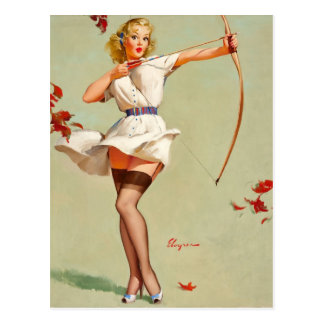Archery Pin-Up Girl Postcard