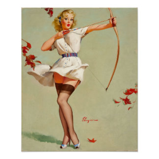 Archery Pin-Up Girl Poster