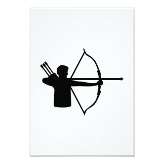 Archery player 3.5x5 paper invitation card