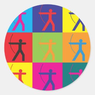 Archery Pop Art Round Sticker