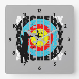 Archery Sport Cool Typography Archers Graphic Clocks