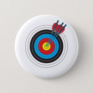 Archery Target with Arrows 6 Cm Round Badge