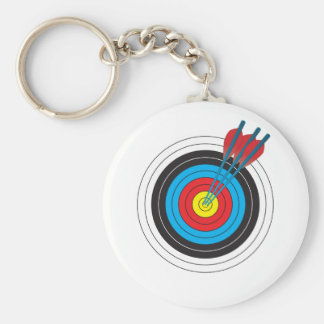 Archery Target with Arrows Basic Round Button Key Ring