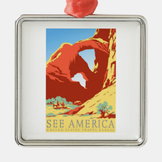 Arches National Park Colorado co Vintage Travel Silver-Colored Square Decoration
