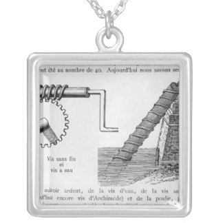 Archimedes screw silver plated necklace