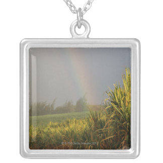 Arching Rainbow Silver Plated Necklace
