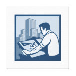 Architect Draftsman Drawing Buildings Retro Gallery Wrap Canvas