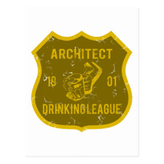 Architect Drinking League Postcard
