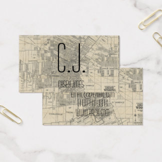 architect map building blueprint business card