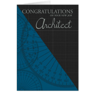 Architect - New Job - Stylish With Graph Paper Greeting Card