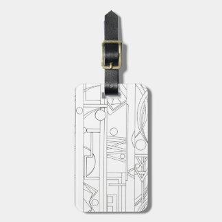 Architect's Dream-Black And White Geometric Luggage Tag