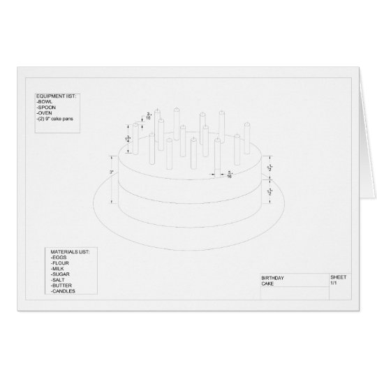 Architectural Birthday Cake Card