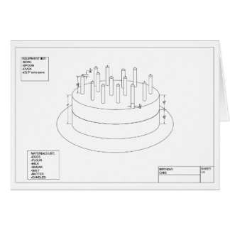 Architectural Birthday Cake Cards