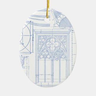 Architectural Blueprints Ceramic Oval Decoration