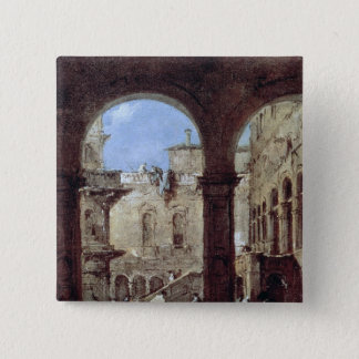 Architectural Capriccio, c.1770 15 Cm Square Badge