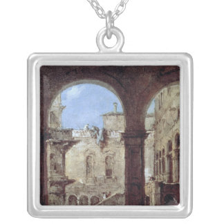 Architectural Capriccio, c.1770 Silver Plated Necklace