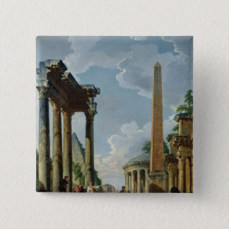 Architectural Capriccio with a Preacher 15 Cm Square Badge