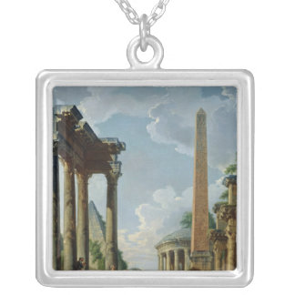 Architectural Capriccio with a Preacher Silver Plated Necklace