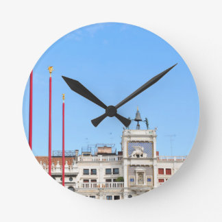 Architectural detail in Venice, Italy Round Clock
