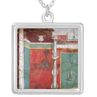 Architectural detail with a landscape silver plated necklace