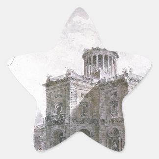 Architectural Fantasy by Hubert Robert Star Sticker