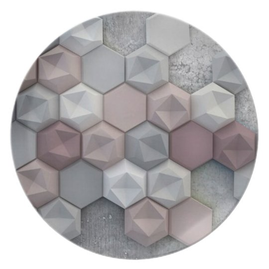 Architectural Hexagons Melamine Plate