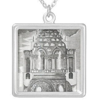 Architectural Illustration Silver Plated Necklace