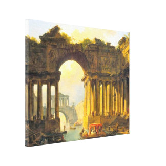 Architectural Landscape with Canal Wrapped Canvas Stretched Canvas Print