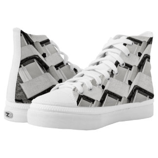 Architectural Pattern High Tops Printed Shoes