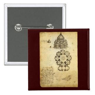 Architectural Sketch by Leonardo da Vinci 15 Cm Square Badge