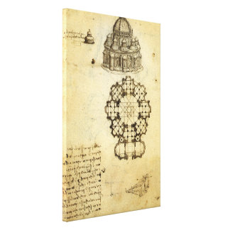 Architectural Sketch by Leonardo da Vinci Canvas Print