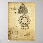 Architectural Sketch by Leonardo da Vinci Poster