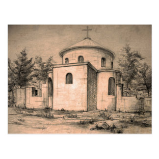 Architecture ancient church pencil art Postcard