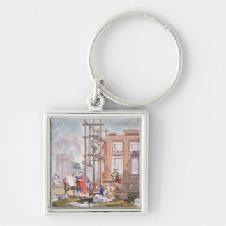 Architecture, from a series of four illustrating t Silver-Colored square key ring