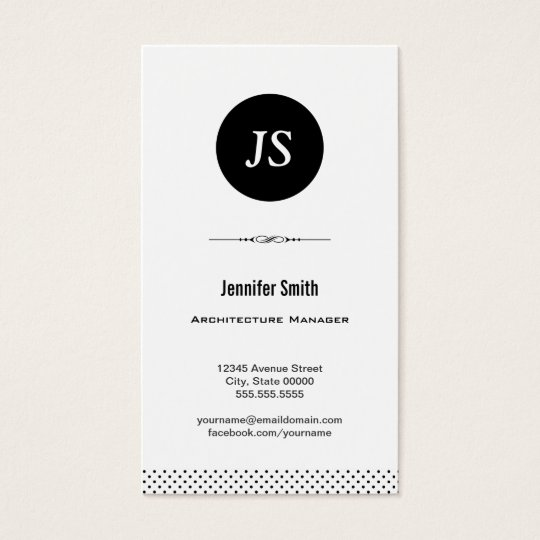 Architecture Manager - Clean Black White Business Card
