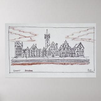 Architecture of Graslei | Ghent, Belgium Poster