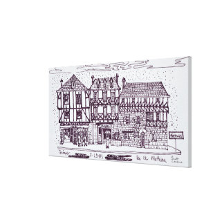 Architecture Rue St. Mathieu   Quimper, Brittany Canvas Print