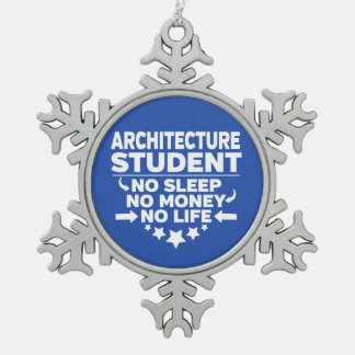 Architecture Student No Life or Money Snowflake Pewter Christmas Ornament
