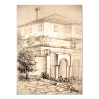 Architecture traditional house pencil Photo print