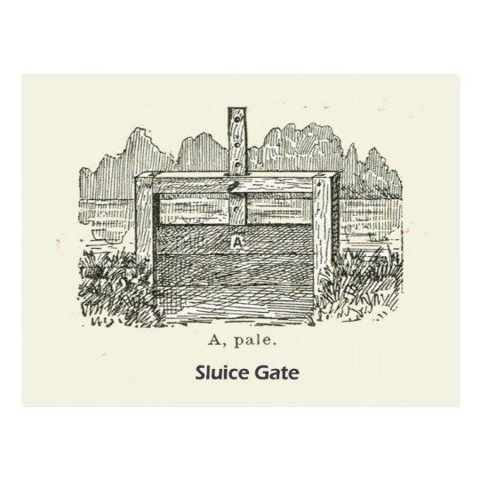 Architecture, wooden sluice gate postcard