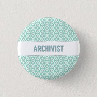 Archivist button, on aqua 3 cm round badge